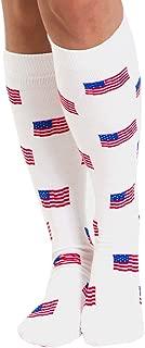 product image for Chrissy's Socks Women's American Flag Knee High Socks 7-11 White/Red/Blue