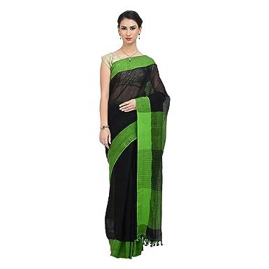 c9de8b54c8b373 THE WEAVE TRAVELLER Women's Linen Handloom Saree with Attached Blouse (Black )