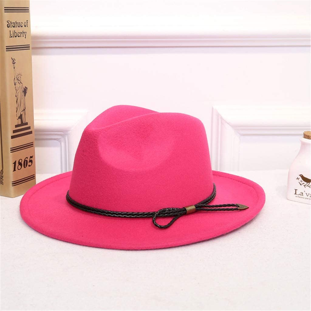 Cuekondy Women Belt Buckle Fedora Hat,Classic Wide Brim Floppy Panama Hat Crushable Wool Felt Outback Hat
