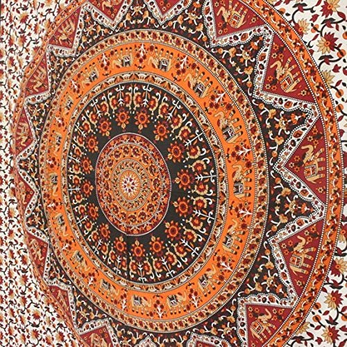 Jaipur Handloom Tapestry Wall Tapestry Wall Hanging Tapestries Mandala Tapestry Wall Art Medallion Decor Orange Indian Tapestry Wall Blanket Wall Decor Wall Art Home Decor Wall Hanging Art