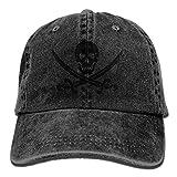 Gorgeous decoration Men&Women Skull Swords Pirate Adjustable Vintage Washed Denim Cotton Dad Hat Baseball Hat Natural