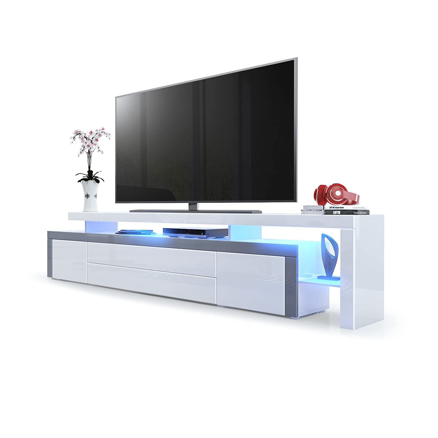 White High Gloss   Grey High Gloss with LED TV Stand Unit Leon V3, Carcass and raised stand in White High Gloss   Front in Fuchsia High Gloss with a frame in White High Gloss