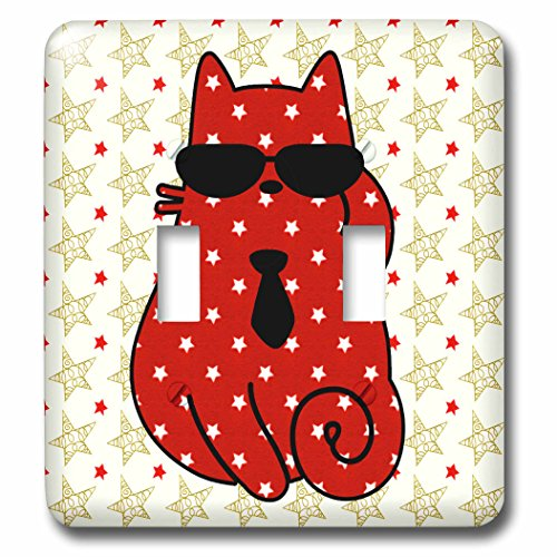 t Cats - Red Star Patterned Cat in Sunglasses and a Necktie Holiday - Light Switch Covers - double toggle switch (lsp_269555_2) (Holiday Necktie)