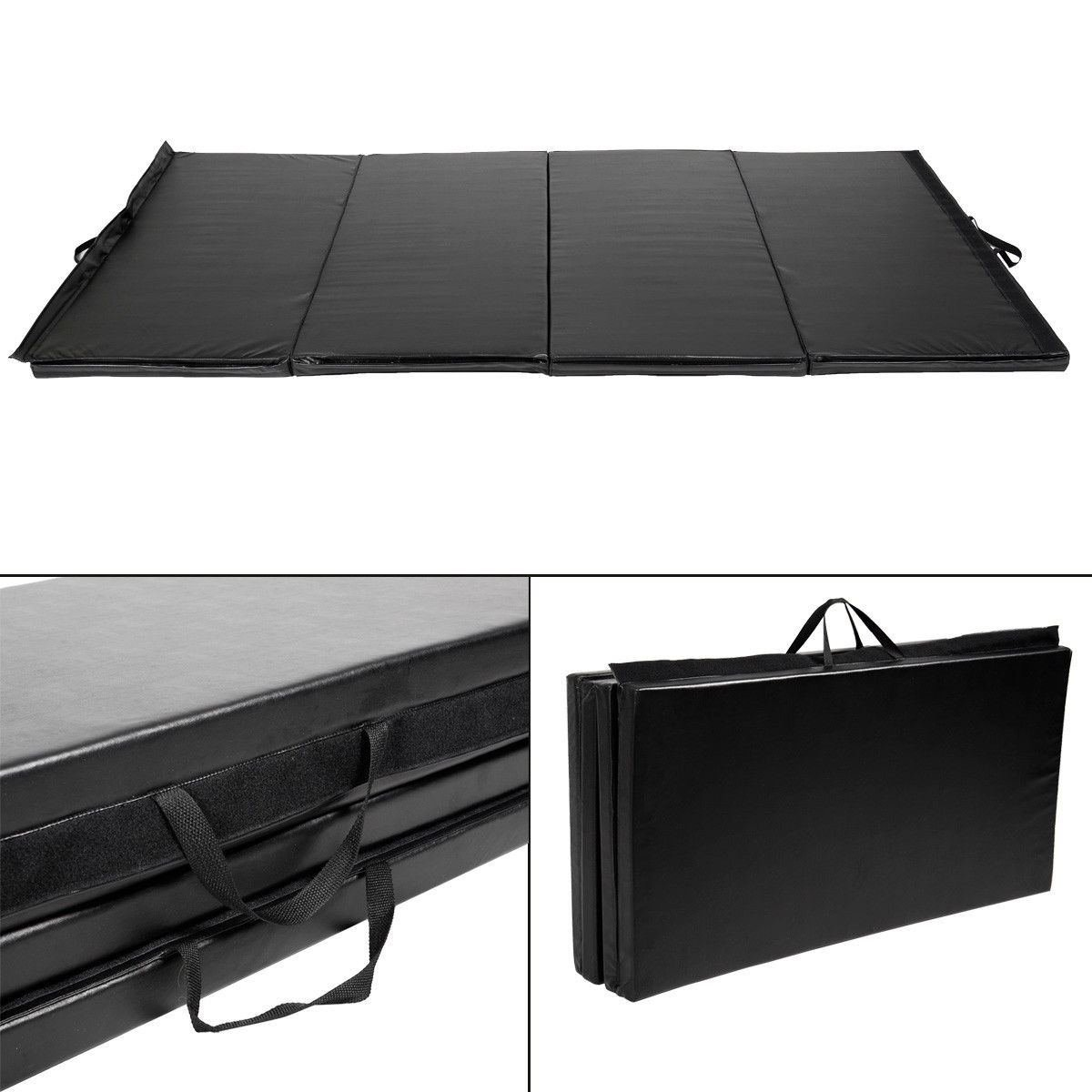 New Black 4'x8'x2'' Thick Folding Panel Gymnastics Mat Gym Fitness Exercise Mat