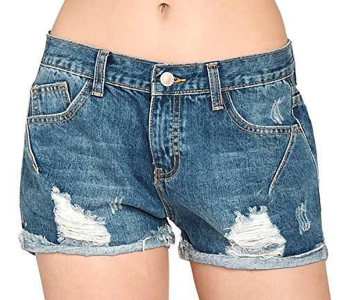 ililily Women Vintage Distressed Rolled-up Washed Cotton Jean Pants Denim Shorts, Middle Blue, US-Small