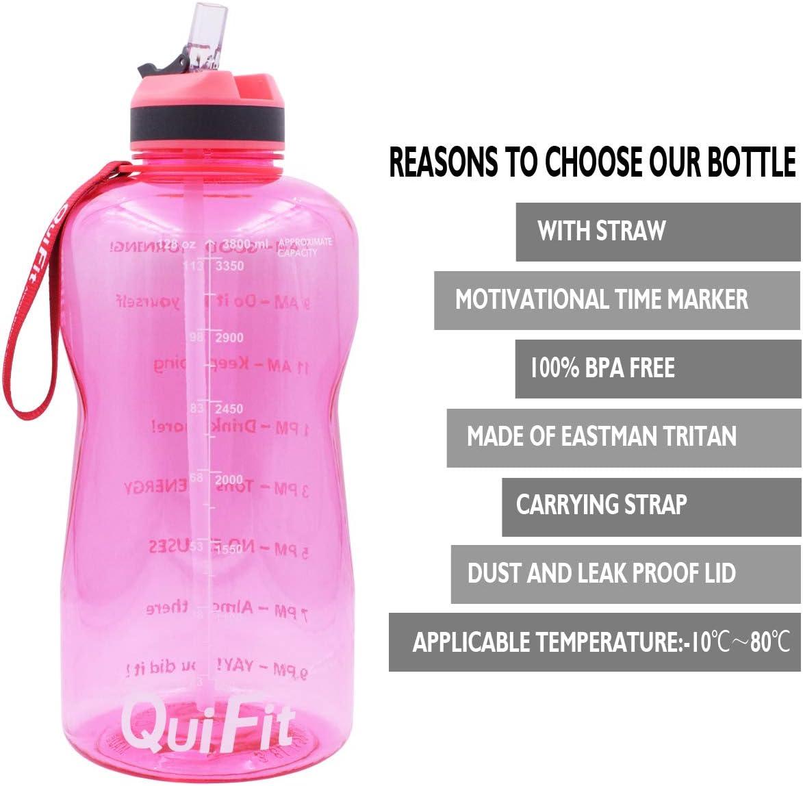 Nero capacit/à 2 l//1,3 l senza BPA ed ecologica Borraccia sportiva con cannuccia e marcatore temporale 1300 ml non tossica QuiFit grande capacit/à allaperto in Tritan fitness