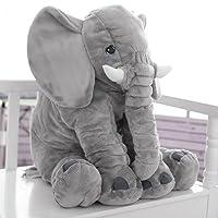 Elefante Cuscino Cuscino Peluche per Bambini 100% Cotone Comodo 60 cm Grigio