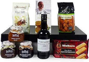 Caja de regalo de los caballeros con vino tinto del puerto - Idea de regalo para el aniversario, aniversario, como gracias hermoso, día del padre, jubilación, inauguración: Amazon.es: Alimentación y bebidas