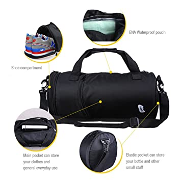 963fdef72f2 Uniuooi Dry Wet Separated Swimming Bag Waterproof Sports Gym Duffle Bag  Handbag Travel Beach Bag Toiletry Clothes Organiser with Shoe Compartment  for Women ...