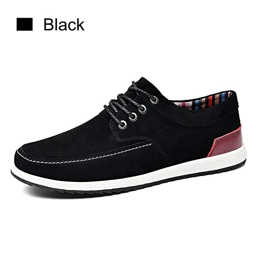 Mens Leather Casual Shoes New Fashion Sneakers Men Moccasins Male Suede Shoes Black 7