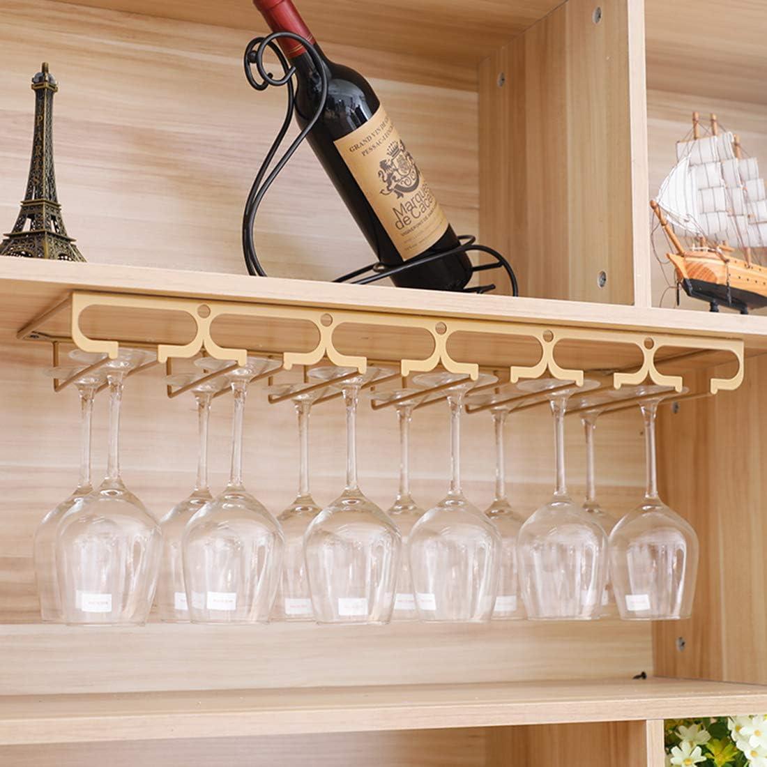 Doro Portabicchieri per 6-9 Bicchieri Supporto Bicchieri da Vino per Cucina da Bar Matuke Portabicchieri A Sospensione Porta Calici di Vino con 3 Binari