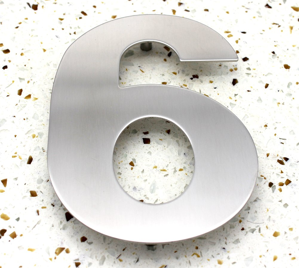 ZW Hardware SS100 12 Inch 304 Stainless Steel Brushed Stainless Steel Large House Number 6
