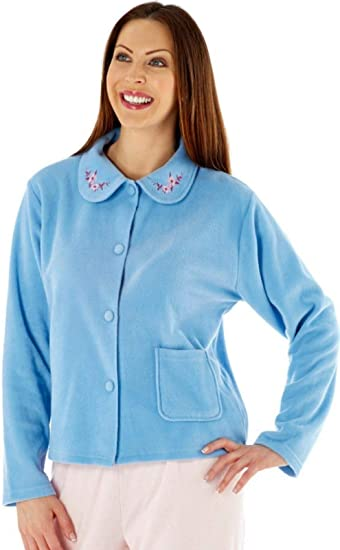 Lady Selena Soft Fleece Long Sleeve Button Front /& Pockets Dressing Gown Robe