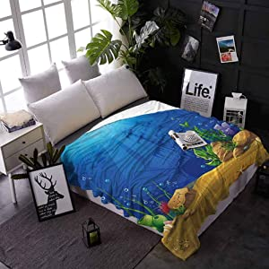 Plush Blanket Aquarium Super Soft Warm Comfy for Couch Bed Sofa Marine Life Landscape Sunken Ship Silhouette Corals Fishes Tropics 50 x 70 Inches Blue Light Coffee Green
