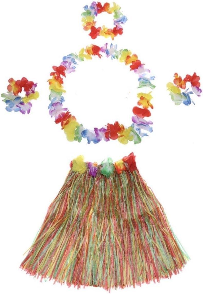مجموعة تنانير هولا العشبية 5 قطع للاطفال- فستان رقص مطاطي مزين بالازهار للاطفال والبنات (متعدد الالوان)
