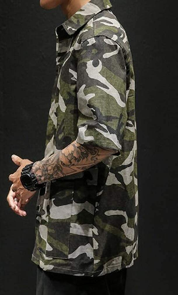 Cromoncent Men Camouflage Short-Sleeve Button-Down Big and Tall Shirts