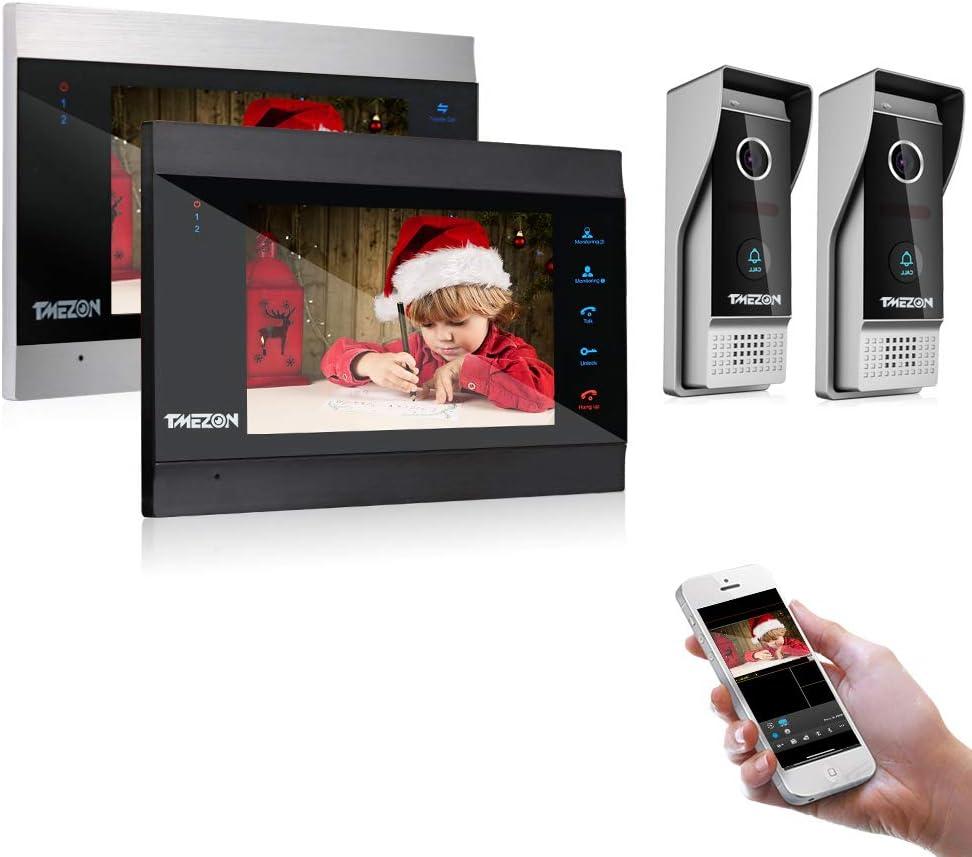 Tmezon IP Wireless Wifi Video Phone Doorbell Intercom System Doorbell Video Camera with 7 inch Monitor 1200TVL Cameras Support Remote Unlock, Two Way Dual Way Intercom