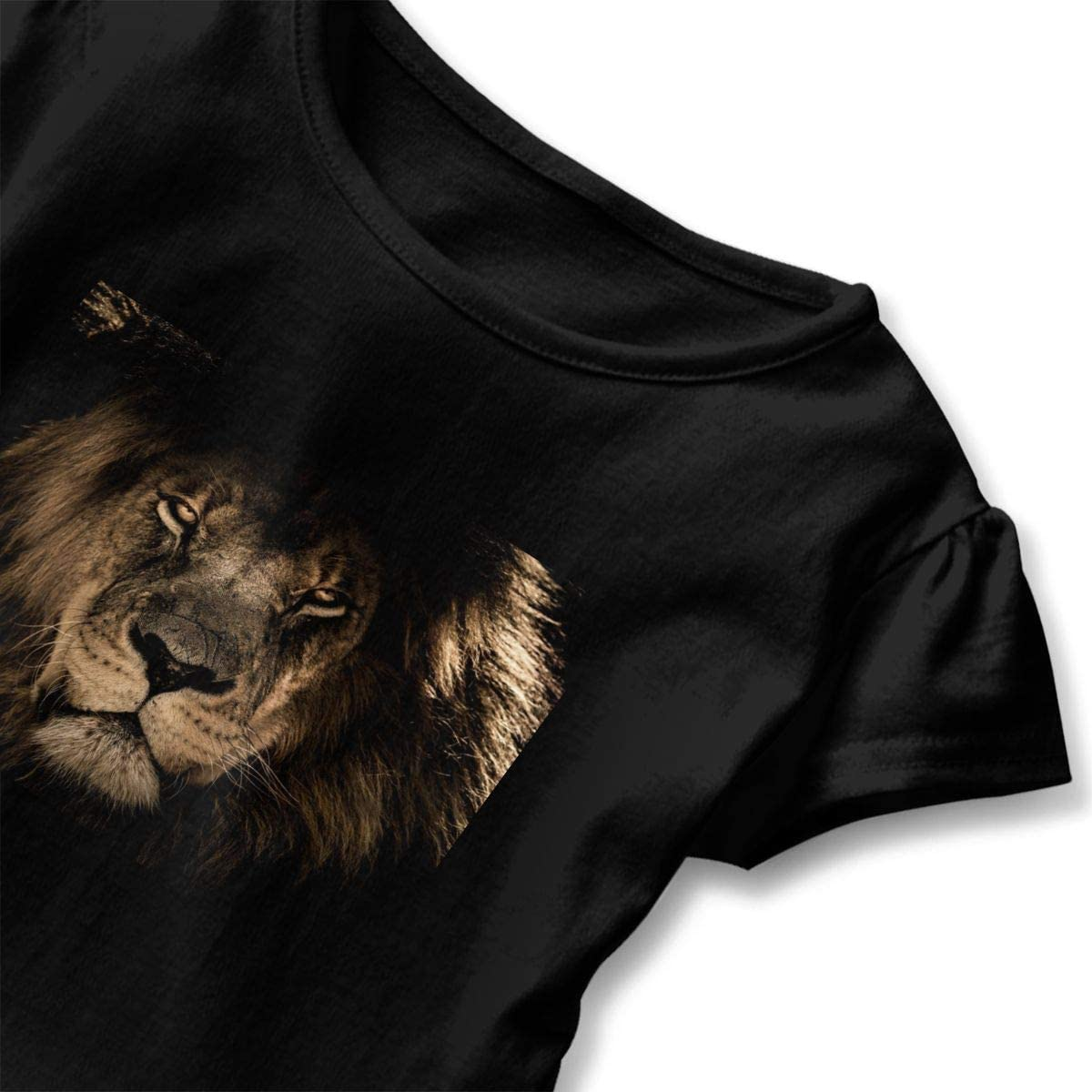 Not Available African Lion Face Baby Girls Short Sleeve T-Shirt Flounced Cute Shirt Dress for 2-6 Years Old Baby