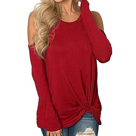 Mujer blusa otoño,Sonnena ❤ Camiseta de manga larga para mujer con tiras Cold Shoulder Solid camiseta Tops Blusas: Amazon.es: Hogar