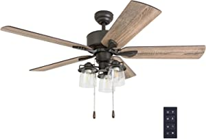 Prominence Home 50683-01 River Run Farmhouse Ceiling Fan (3 Speed Remote), 52