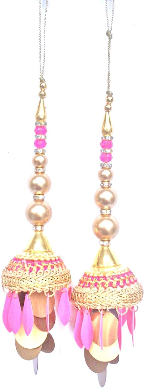 Baby Pink, 6 Inches Long 1 Pair Charm Tassels Golden Tassels Indian Tassels Handmade Accessory Blouse Sari Latkan Jewelery Making Ethnic Craft Sewing Sari Dress Material