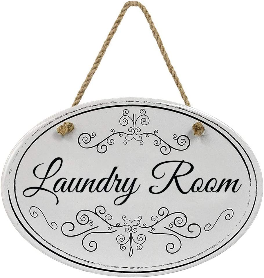 """""""Laundry Room"""" Ceramic Black & White Bathroom Sign 