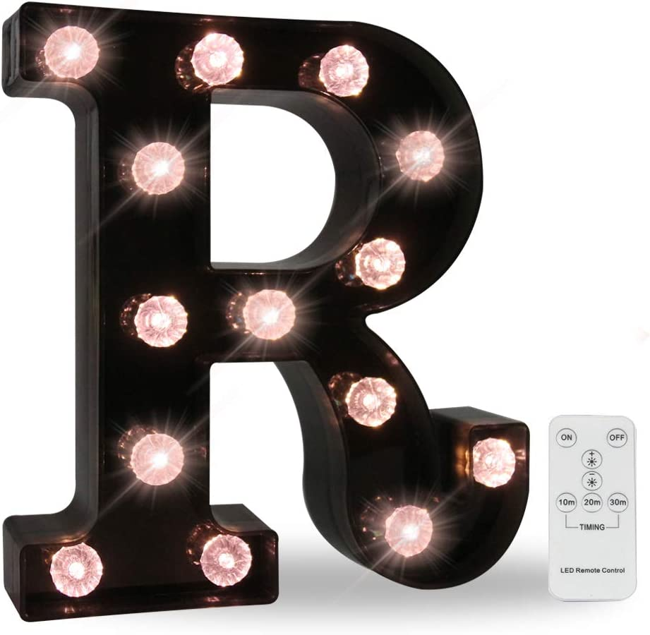 26 LED Letters Light Alphabet Marquee Signs, Ampersand Remote Timer Light Up Signs With Letters Desk Table Lamp for Bedroom, Bar, Wall Decor- Black Letter R