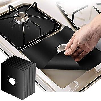ToomLight 4 Unids Reutilizable Estufa Quemador Estufa Quemador de estufa Cubre Papel de aluminio Avellanador Estufa Estufa Protector Protector Cubierta: ...