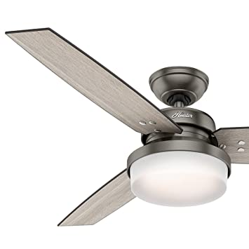 Hunter fan 52 brushed slate contemporary ceiling fan with led hunter fan 52quot brushed slate contemporary ceiling fan with led light kit and remote control mozeypictures Choice Image