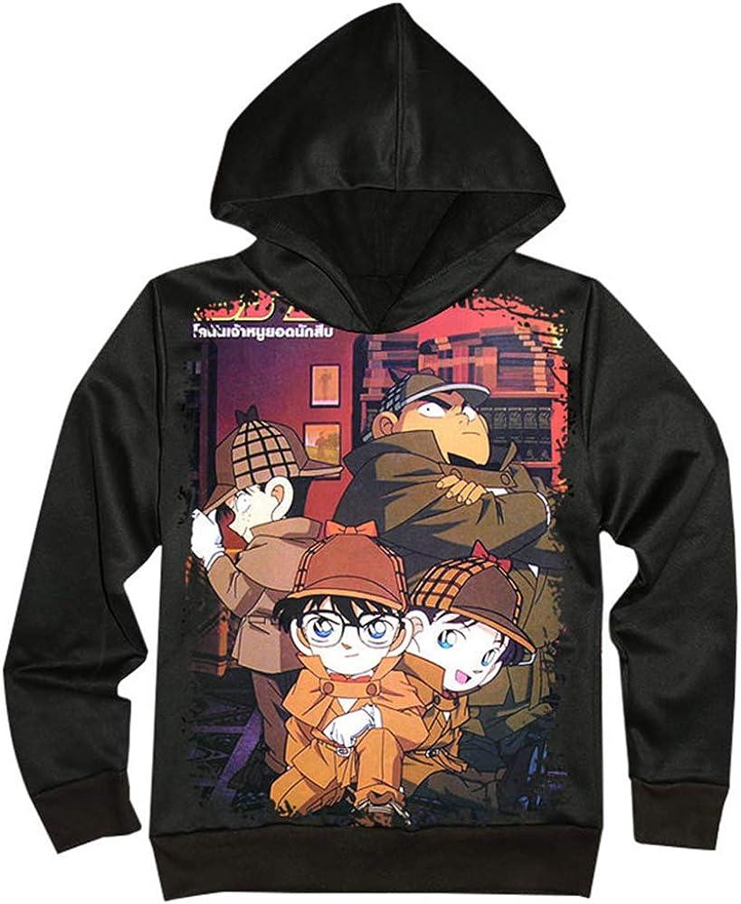 Unisex Detective Conan Print Manga Larga Abrigos Simples Sudaderas con Capucha Anime Suéter para Hombres y Mujeres Sudadera con Capucha Informal