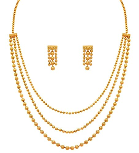Amazon i jewels one gram gold plated multi strands necklace i jewels one gram gold plated multi strands necklace with earrings set for women ms141 aloadofball Images