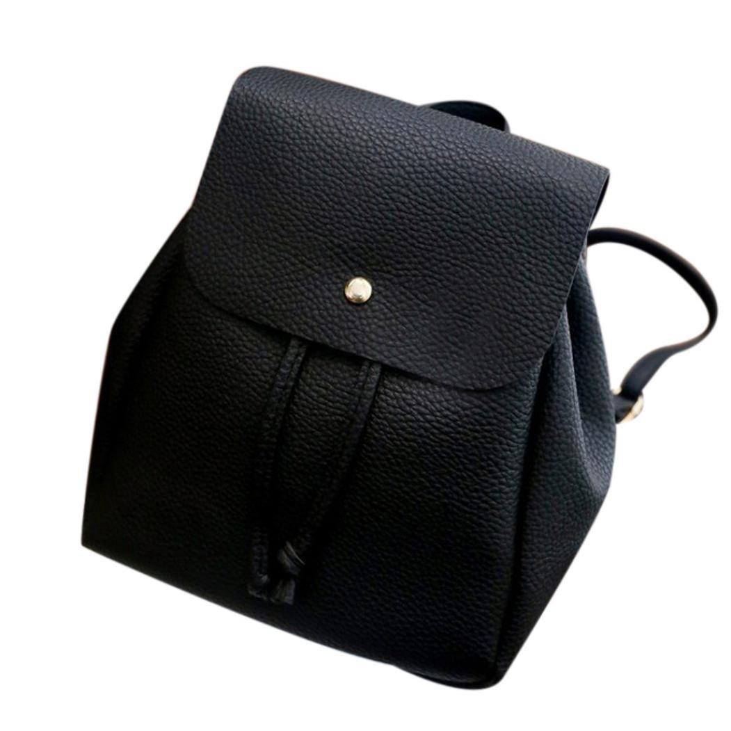 ❤️Clearance! Women's Leather Double Backpack Women Leisure Student Schoolbag Drawstring Satchel Shoulder Backpack Soft Bags Duseedik (BLACK)