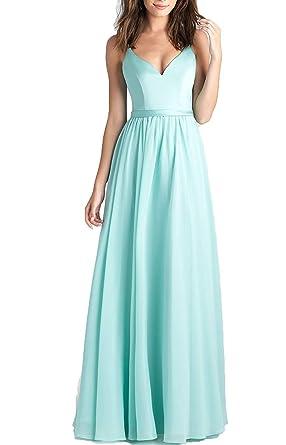 3894389d4ffd99 Aurora dresses Damen Chiffon Abendkleider Hochzeit Spaghetti-Träger  Ballkleider Festzug Kleider: Amazon.de: Bekleidung