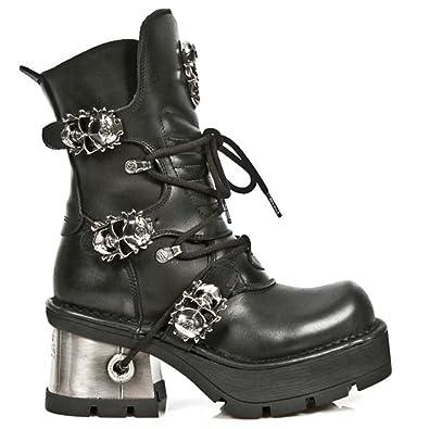 New Rock Metallic Negro Cuero Botas M.1044-S1 xPHvUzWEKS