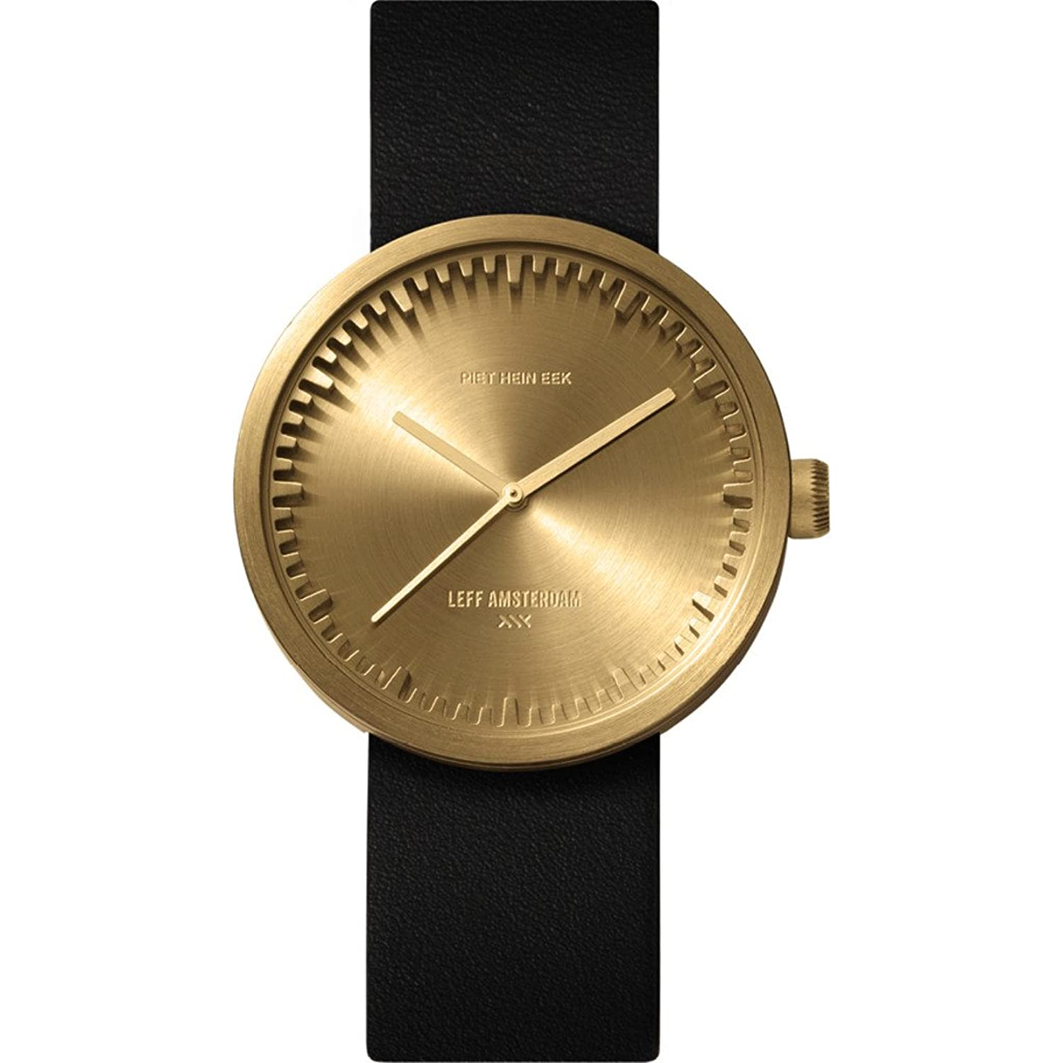 D38 Brass with Black Leather Strap Tube Watch