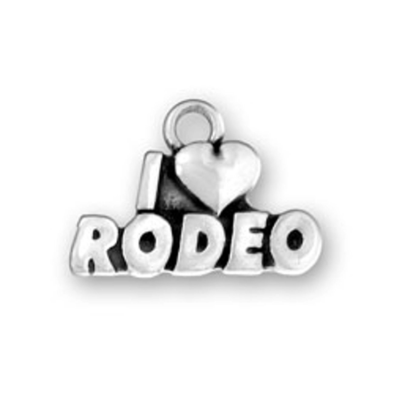 Sterling Silver Womens 1mm Box Chain I LOVE RODEO Word Pendant Necklace