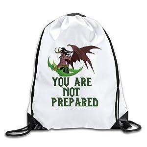 Custom Illidan Stormrage World Of Warcraft Sport Backpack Drawstring Print Bag