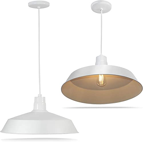 17-inch Industrial White Pendant Barn Light Fixture with 10ft Adjustable Cord, Ceiling-Mounted Vintage Hanging Light Fixture for Indoor Use, 120V Hardwire, E26 Base LED Compatible, UL Listed 2Pack