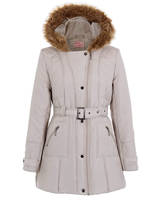 2f4afa159e6d3 KRISP 3780-STN-16  Faux Fur Hood Quilted Padded Parka Puffer Warm Winter Jacket  Coat  Amazon.co.uk  Clothing