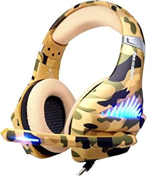 Beexcellent Gaming Headset GM-1 with Microphone for New Xbox 1 PS4 PC Cellphone Laptops Computer Noise Reduction Game Earphone-Easy Volume Control with LED Lighting 3.5MM Jack Blue Surround Sound