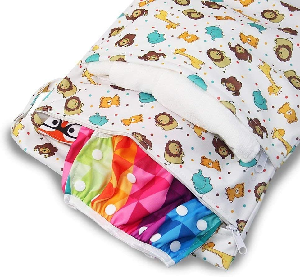 Reusable Wet Suit Bag Waterproof Washable Hanging Large Diaper Bag Organizer Pouch Double Zipper Printing Diaper Bag Nappy Bag iZiv Baby Waterproof Reusable Wet Dry Bag