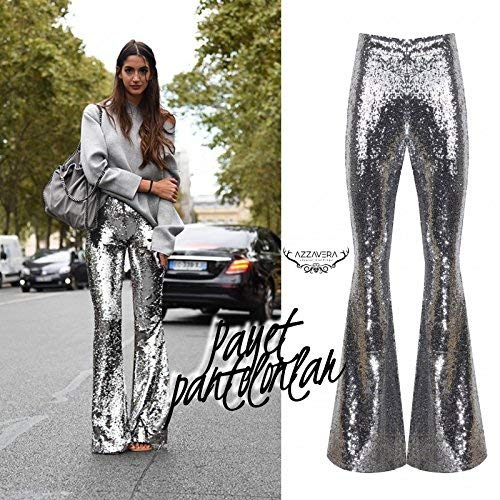 37a8efba5e41d2 AZZAVERA Shiny Silver Sequin High Waist Flare Pants Bell Bottoms Wide Leg  Long Palazzo Yoga Harem Pants Boho Women Pants at Amazon Women's Clothing  store: