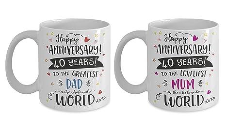 Amazon.com: Taza de regalo para el 40º aniversario de boda ...