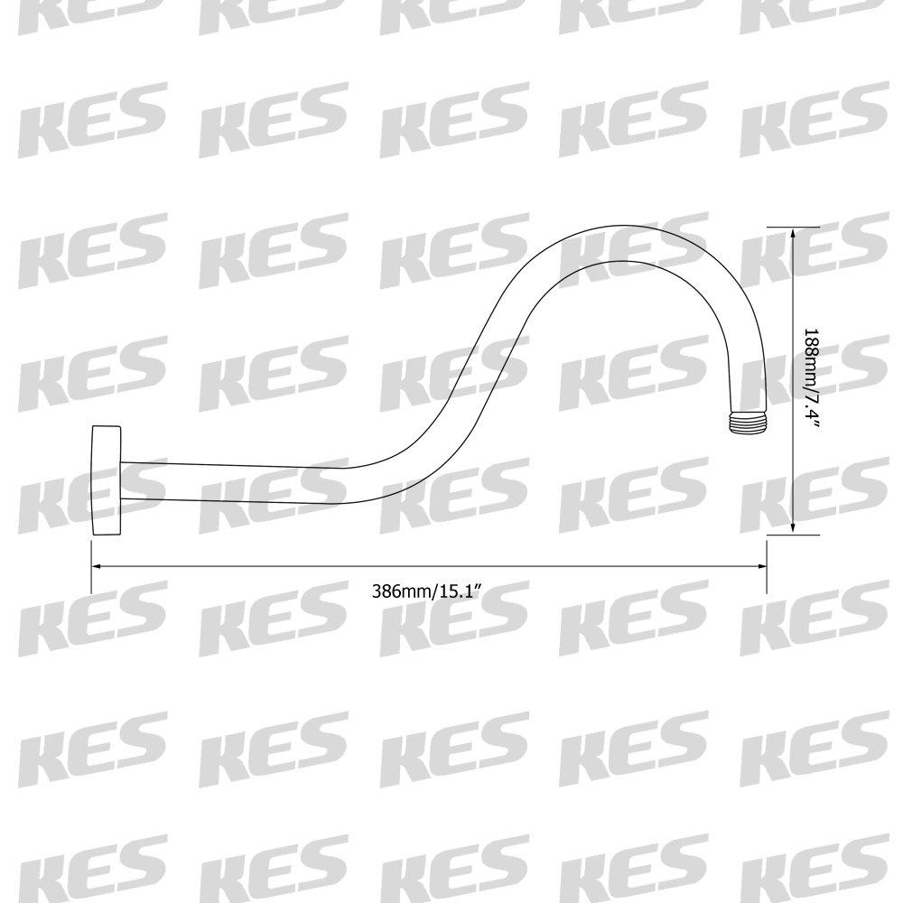 Brushed Nickel KES Bathroom 8-Inch Rainfall Shower Head with Shower Arm PSA9-2+J201-2