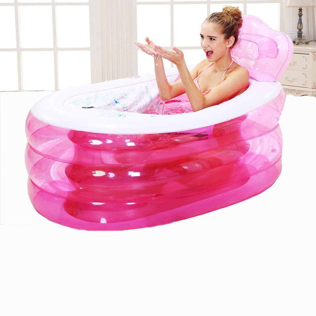ZH1 Inflatable Pool Inflatable Bathtub Thickened Adult Tub Tub Folding Tub Tub Bath Tub Bath Tub (Design : Pink)