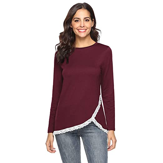 d4b2666a19a6d3 Image Unavailable. Image not available for. Color: iZHH Fashion Womens  Shirt O-Neck Long Sleeve Regular ...