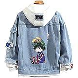 Anime Hero Denim Jacket Graphic Prited Hoodie Cosplay Unisex Anime Coat Cosplay Jacket for Men Women