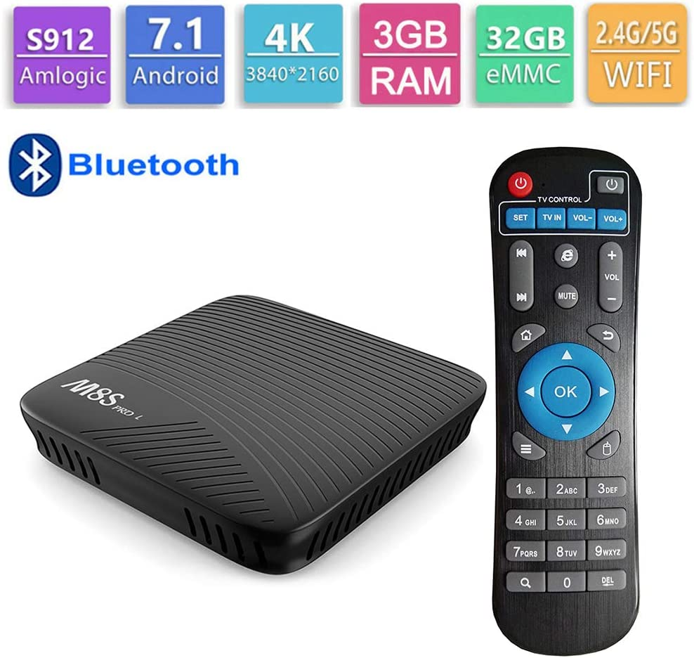 GALEI Andriod 7.1 TV Box, Bluetooth Set Top Box HD 3GB RAM + 32GB ROM WiFi 2.4G / 5.0G, Smart 4K Media Player con Control Remoto: Amazon.es: Hogar