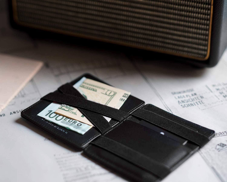 RFID Blocage Cuir Vache Italien Portefeuille Magique pour Homme Porte Monnaie Mince JAIMIE JACOBS /® Magic Wallet Flap Boy Slim Porte Billet lOriginal Carbon