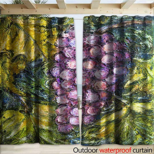 warmfamily Outdoor Curtain Panel for Patio Ripe Pinot Grigio Grape Painting Outdoor Curtain W108 x L96